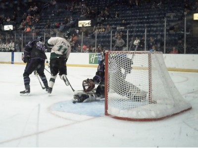 Christian Stoever kicks a puck aside in a 2-1 win against Cedar Rapids.