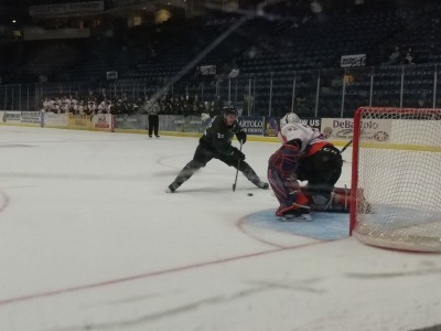 Wouter Peeters stares down Marc McLauglin in a shootout as the Phantoms pick up a 2-1 win over Cedar Rapids.