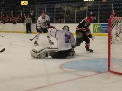 Christian Stoever is way outside of his crease making a save in Sunday's 4-3 loss to the Chicago Steel.