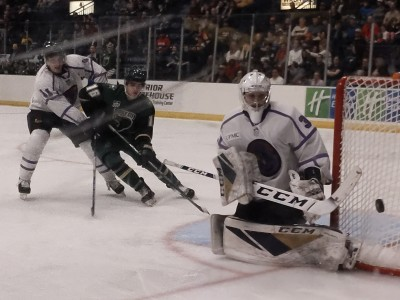Chad Veltri deflects a puck out of harms way in a thrilling 4-3 OT win against Sioux City.