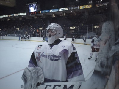 Chad Veltri celebrates the win against the Gamblers on HFC night.