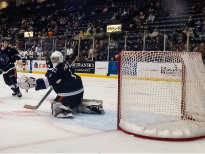 The puck beats Colin Purcell but bounces off the post and out as the Phantoms beat the Sioux Falls Stampede 4-2 at the Covelli.