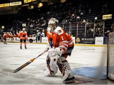 Colin Purcell watches the puck sail wide during a 3-2 OT win over the Madison Capitols.