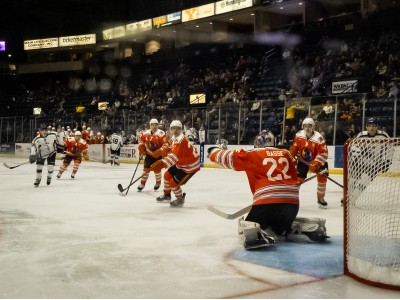 Dominic Basse flashes the glove as he makes the save in a 5-3 win over the Tri-City Storm.