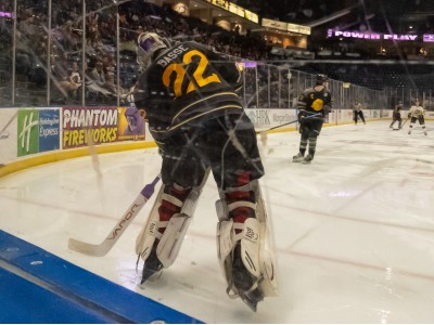 Dominic Basse plays the puck in a 4-2 loss to the Green Bay Gamblers Saturday night.