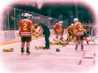 Captain Aiden Gallacher and crew clean up ~560 stuffed animals during the Phantoms anual Teddy Bear Toss.